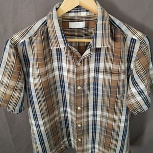 Uniqlo Short Sleeve Button Up Shirt Brown Large